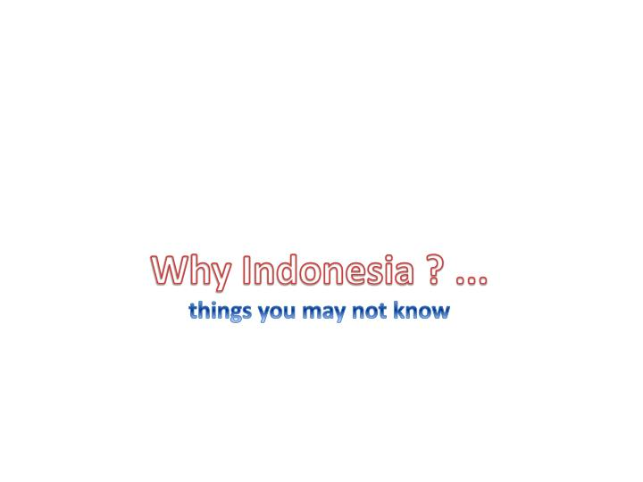 Why indonesia things you may not know
