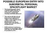 possible european entry into suborbital personal spaceflight market