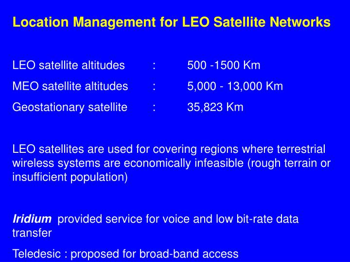 Location Management for LEO Satellite Networks