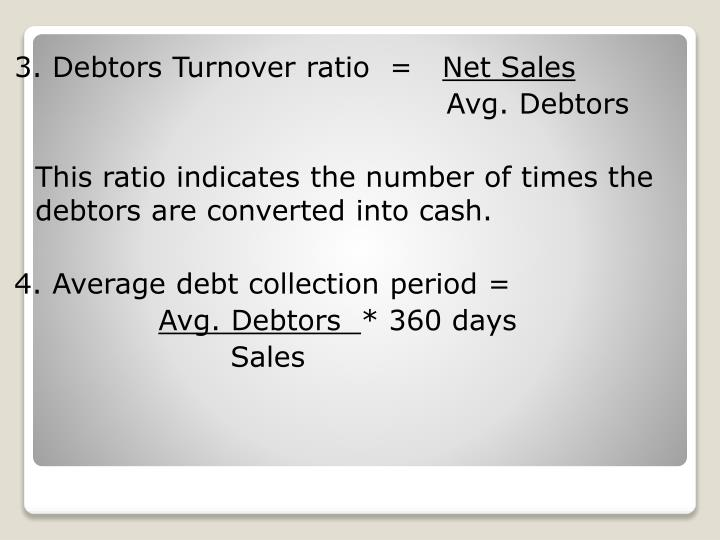 3. Debtors Turnover ratio  =