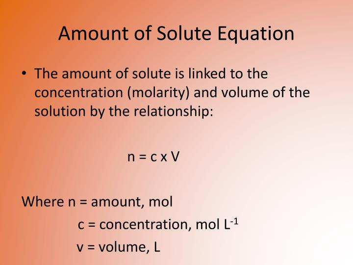 Amount of Solute Equation
