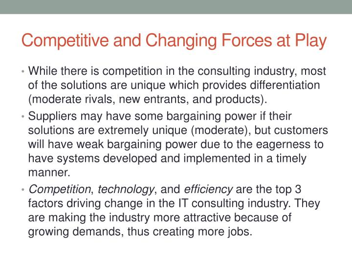 Competitive and changing forces at play