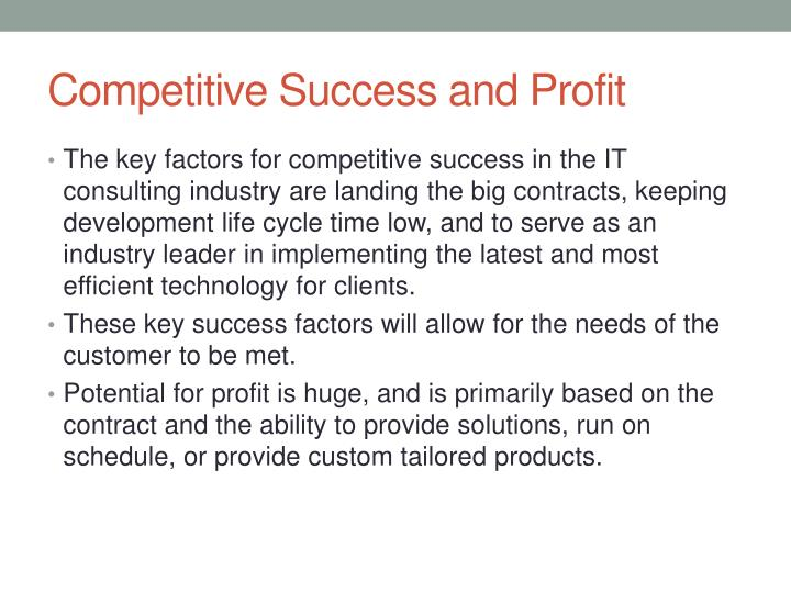 Competitive Success and Profit