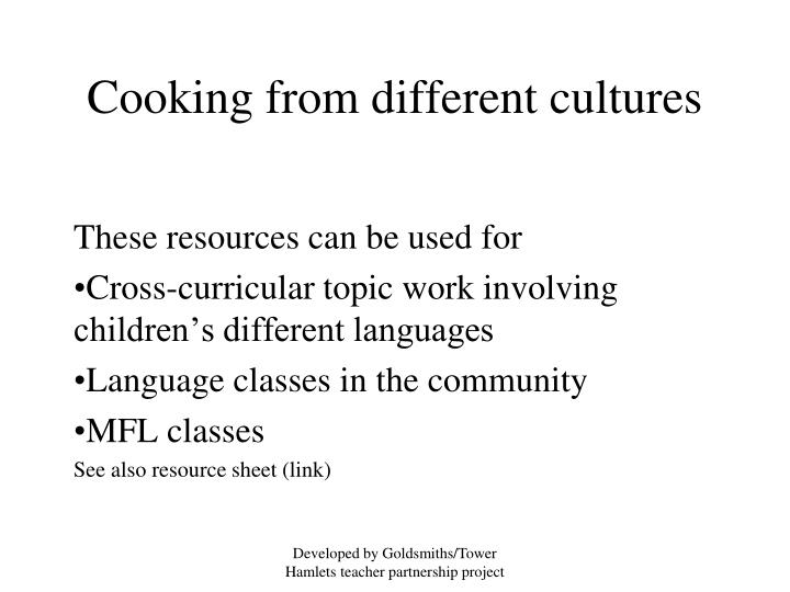 Cooking from different cultures