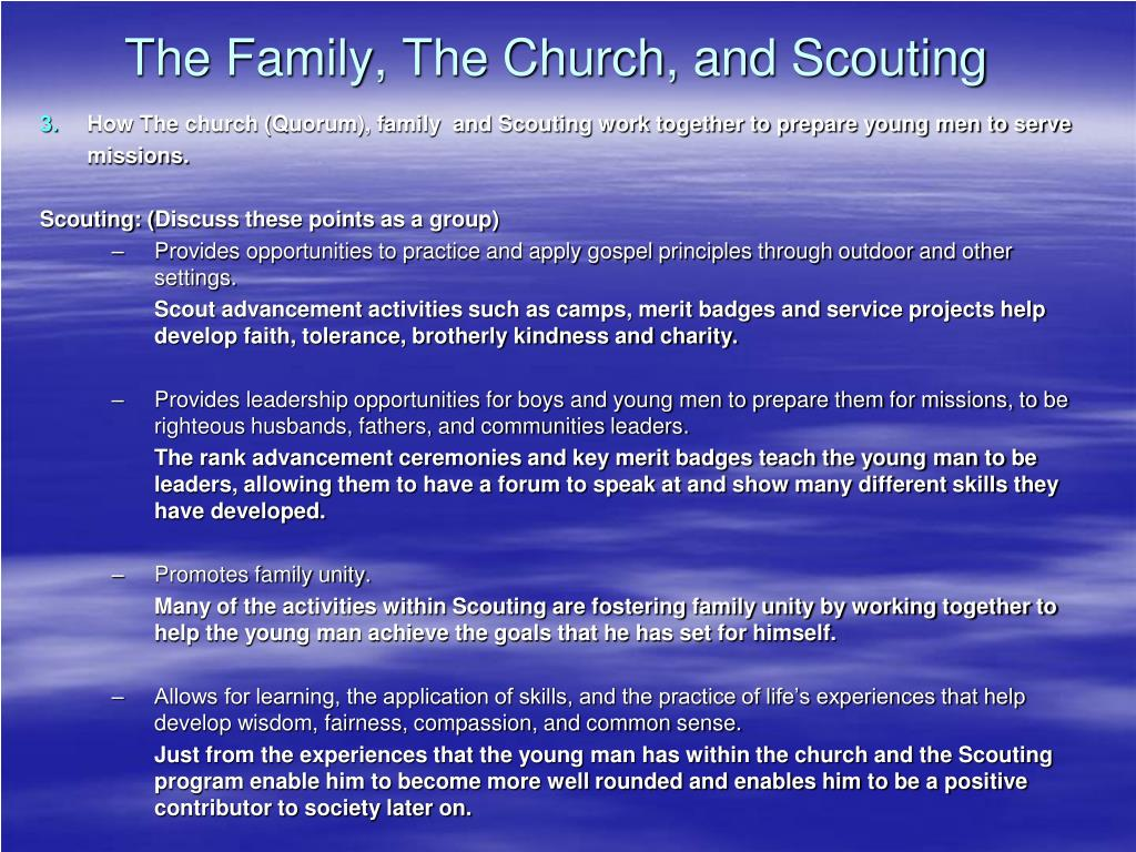 PPT - The Family, The Church, and Scouting PowerPoint