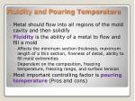 fluidity and pouring temperature