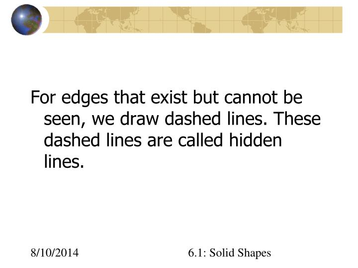 For edges that exist but cannot be seen, we draw dashed lines. These dashed lines are called hidden lines.
