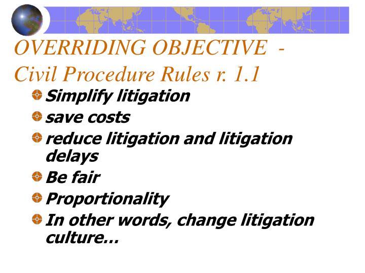 OVERRIDING OBJECTIVE  - Civil Procedure Rules r. 1.1