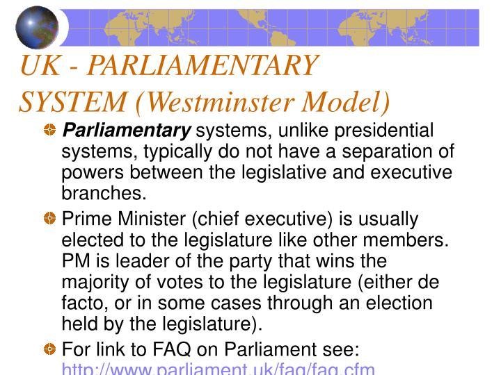Uk parliamentary system westminster model