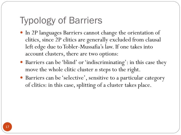 Typology of Barriers