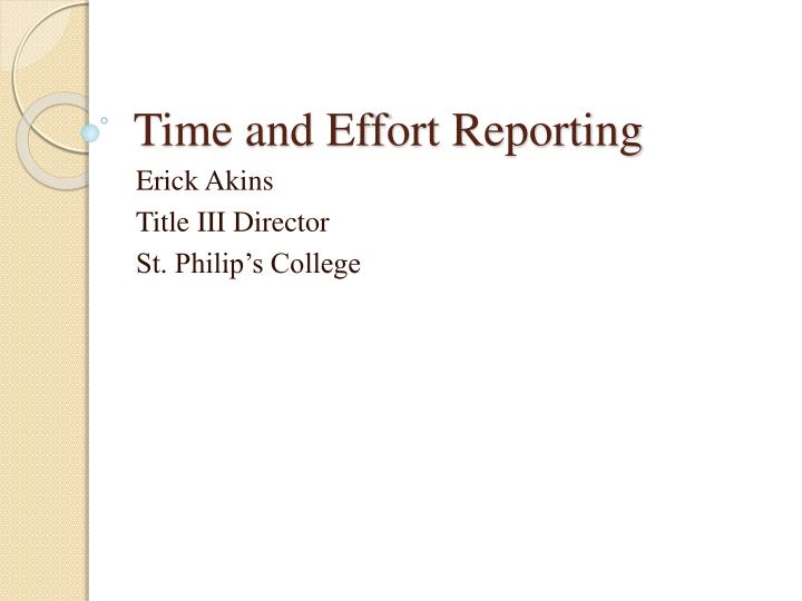 time and effort reporting n.