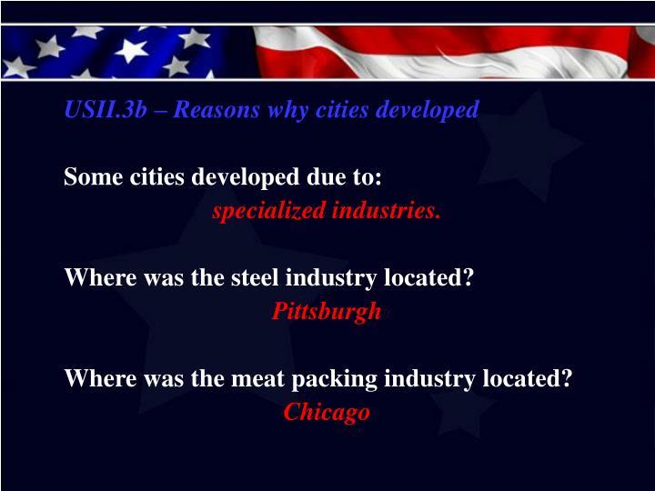 USII.3b – Reasons why cities developed