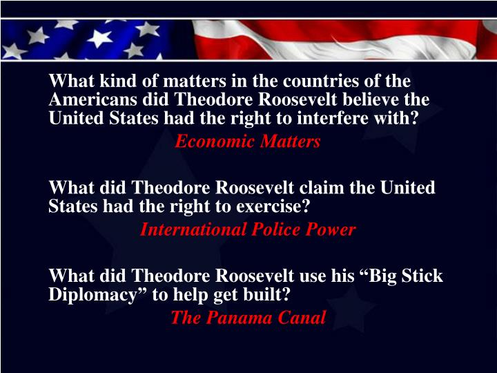 What kind of matters in the countries of the Americans did Theodore Roosevelt believe the United States had the right to interfere with?