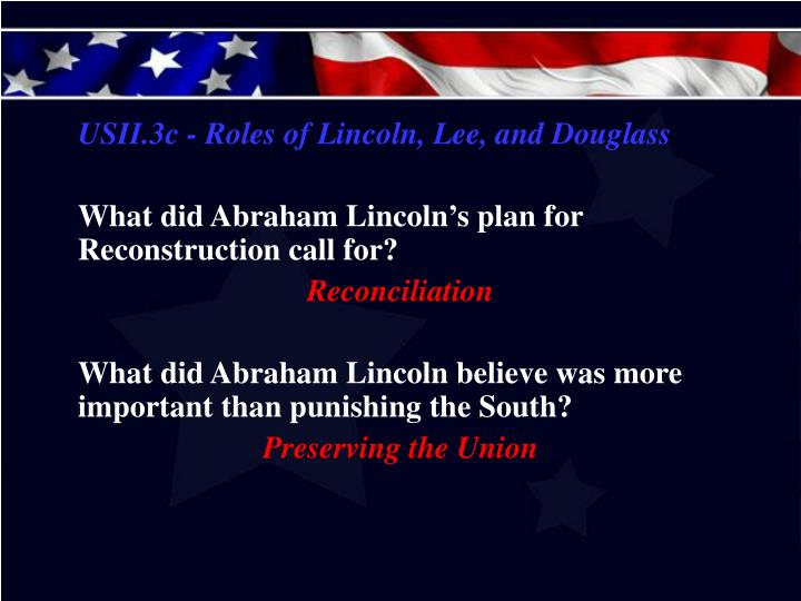 USII.3c - Roles of Lincoln, Lee, and Douglass