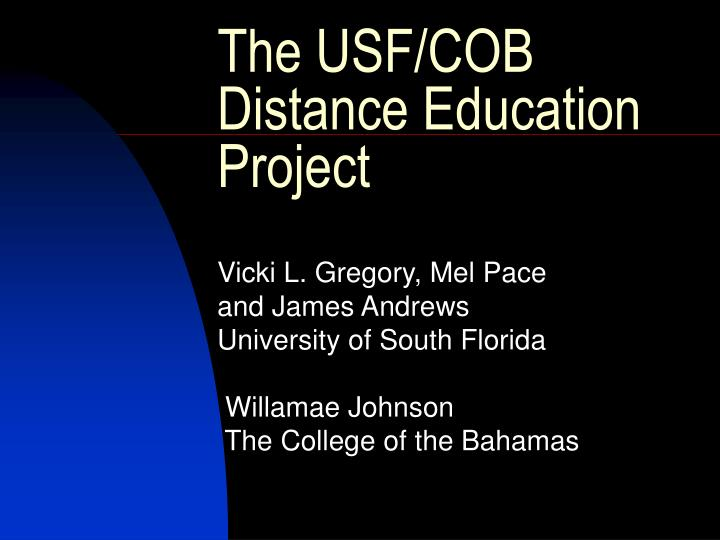 the usf cob distance education project n.