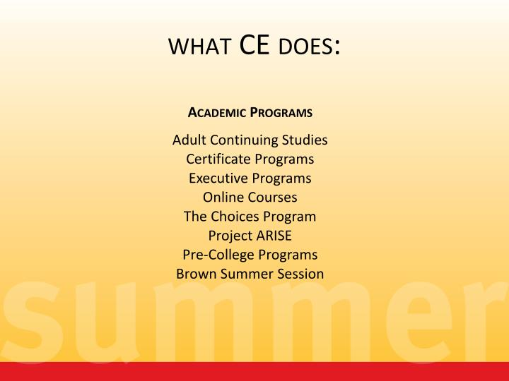 What ce does