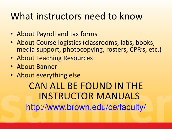 What instructors need to know