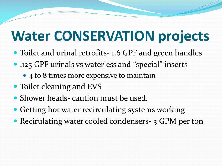 Water CONSERVATION projects