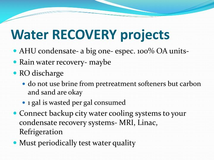 Water RECOVERY projects