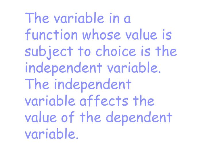 The variable in a function whose value is subject to choice is the independent variable.  The independent variable affects the value of the dependent variable.
