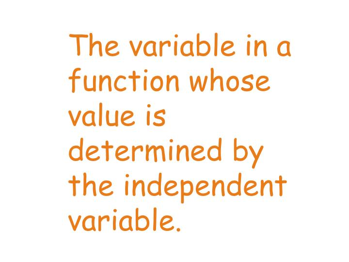 The variable in a function whose value is determined by the independent variable.