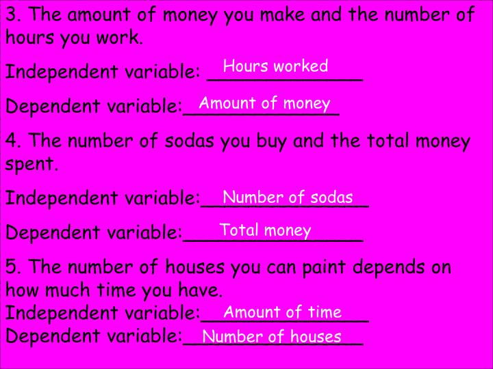 3. The amount of money you make and the number of hours you work.