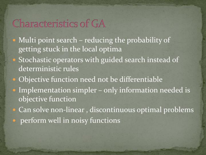 Characteristics of GA