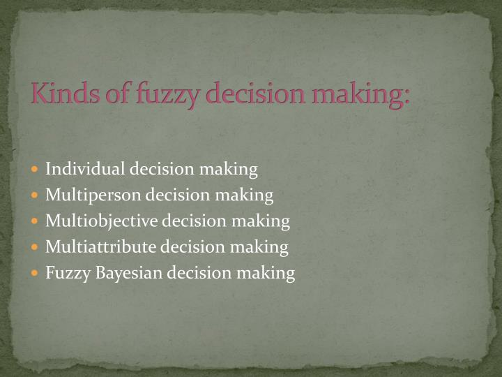 Kinds of fuzzy decision making: