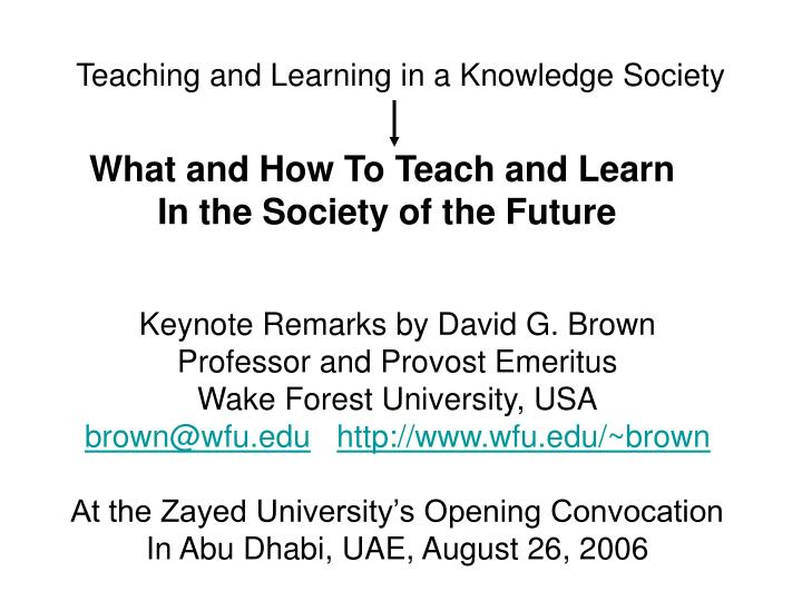 teaching and learning in a knowledge society n.