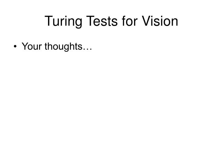 Turing Tests for Vision