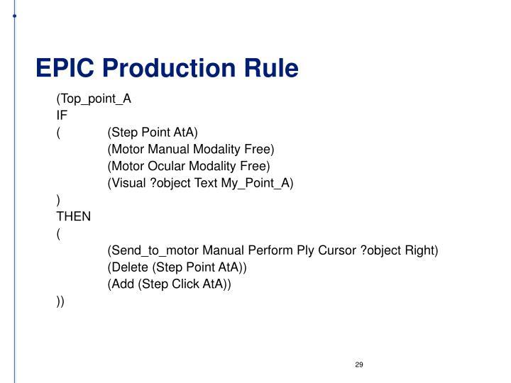 EPIC Production Rule