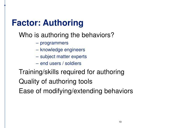 Factor: Authoring