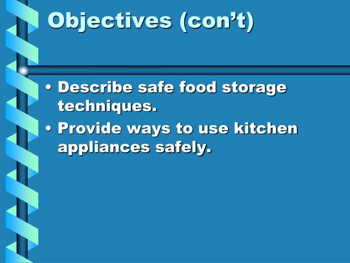 Objectives con t