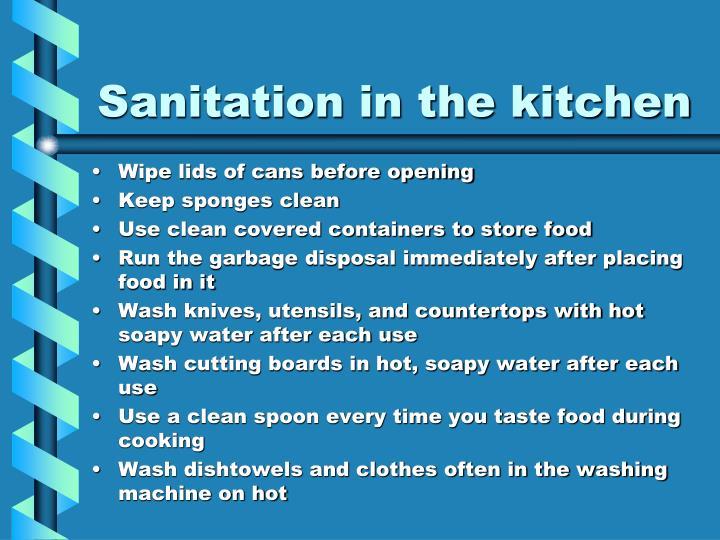 Sanitation in the kitchen