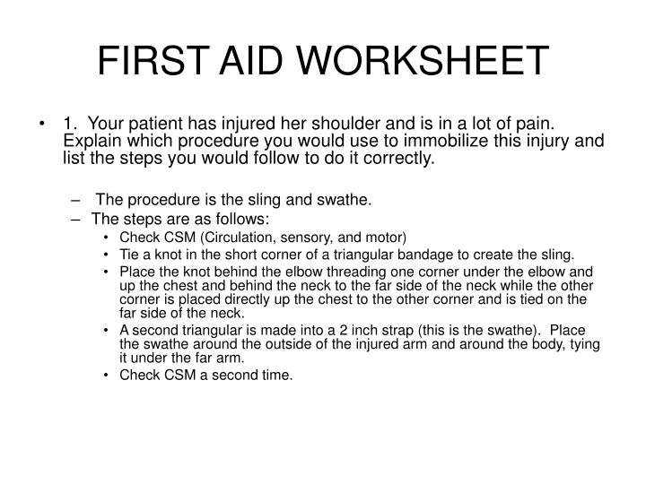 First aid worksheet1