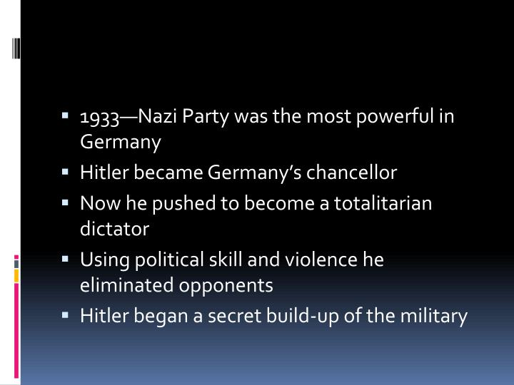 1933—Nazi Party was the most powerful in Germany
