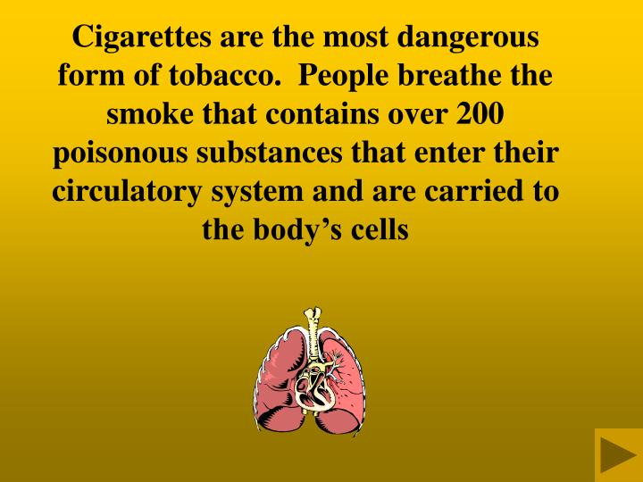 Cigarettes are the most dangerous form of tobacco.  People breathe the smoke that contains over 200 poisonous substances that enter their circulatory system and are carried to the body's cells