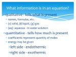 what information is in an equation