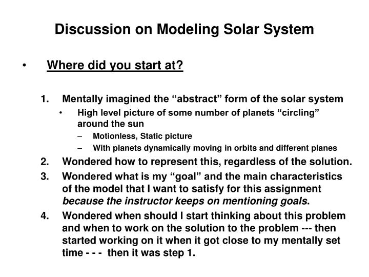 discussion on modeling solar system n.