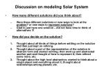 discussion on modeling solar system1