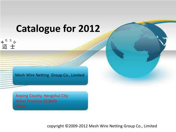 catalogue for 2012 n.