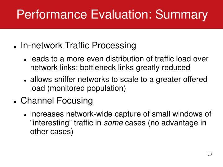 Performance Evaluation: Summary