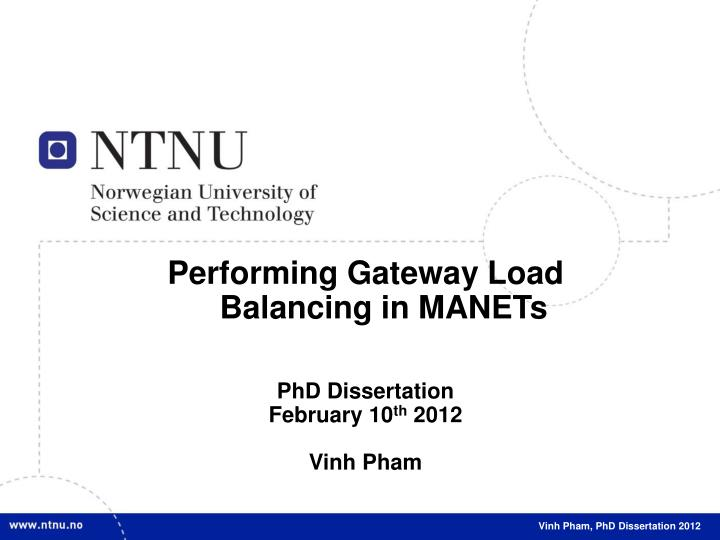 Performing Gateway Load Balancing in MANETs