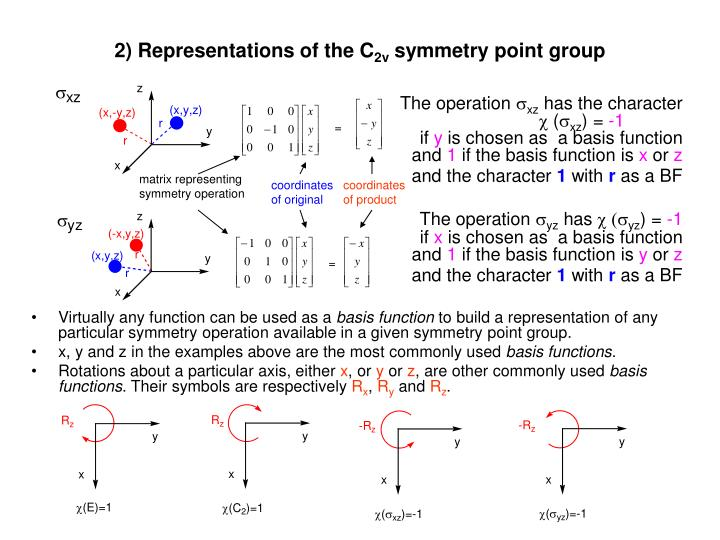 2 representations of the c 2v symmetry point group