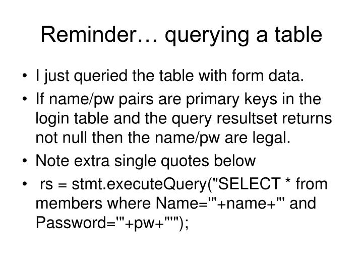 Reminder… querying a table