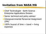 invitation from nasa hq