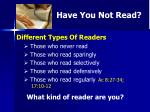 have you not read1