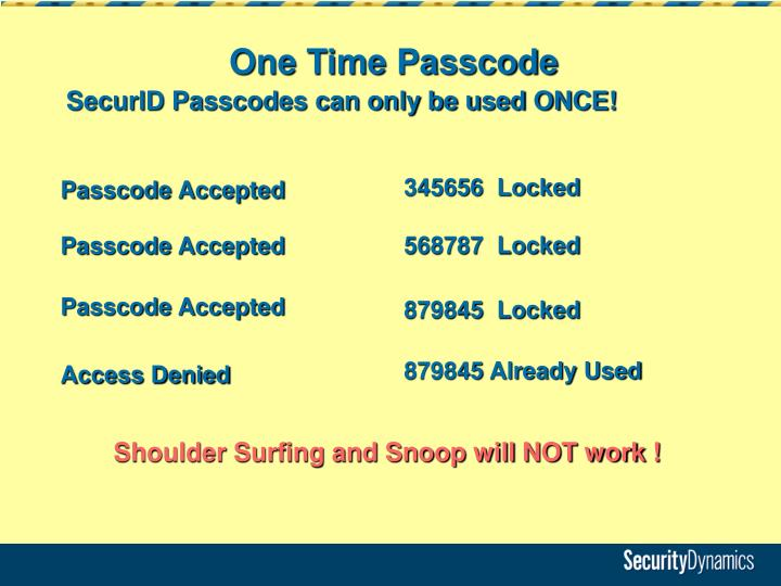 One Time Passcode