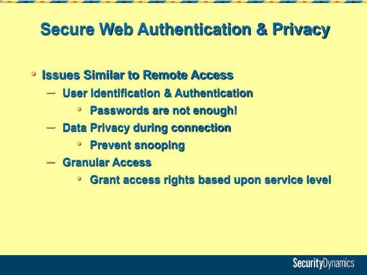 Secure Web Authentication & Privacy