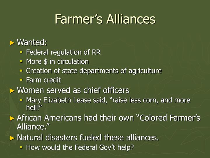 Farmer's Alliances